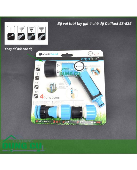 Bộ vòi tưới tay gạt 4 chế độ Cellfast 3/4''53-535