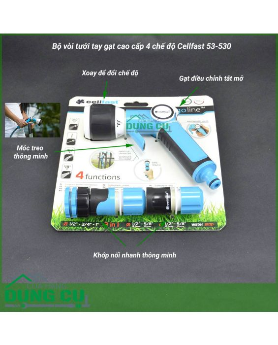 Bộ vòi tưới tay gạt 4 chế độ Cellfast 1/2''53-530
