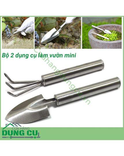 Bộ 2 dụng cụ làm vườn mini inox