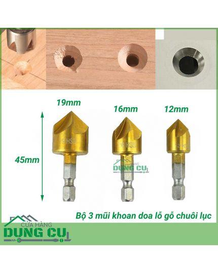 Bộ 3 mũi doa lỗ gỗ chuôi lục phủ Titanium