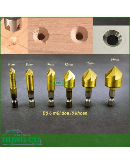 Bộ 6 mũi doa lỗ gỗ dạng 5 lưỡi phay chuôi lục bằng thép carbon cao phủ Titanium