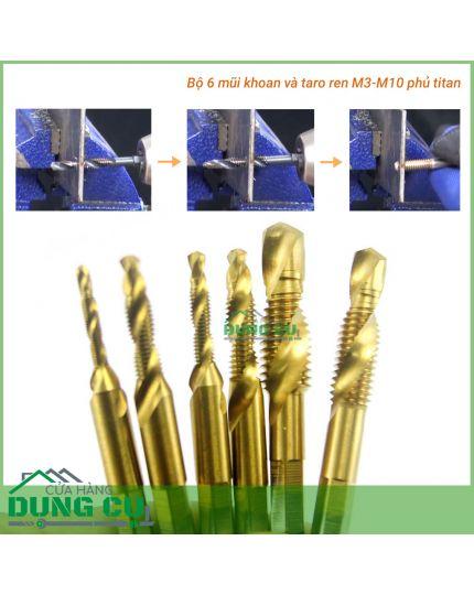 Bộ 6 mũi khoan taro M3-M10 thép HSS 6542 phủ titanium, tạo ren inox, doa âm mũ vít