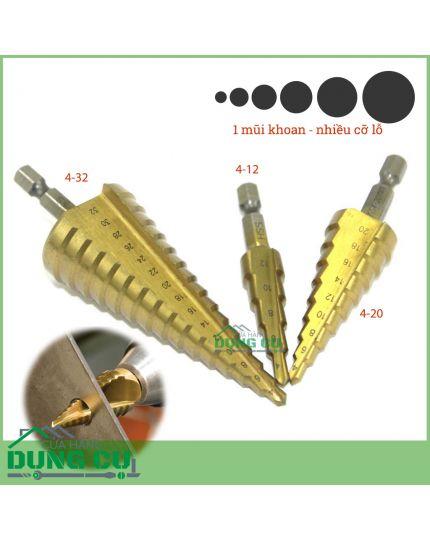 Bộ 3 mũi khoan bước 4-32mm độ cứng 63 bằng thép HSS gia cường titanium, phủ CBN bề mặt