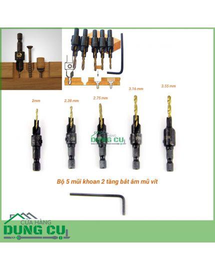 Bộ 5 mũi khoan 2 tầng chỉnh cữ bắt âm mũ vít 2-3.55mm