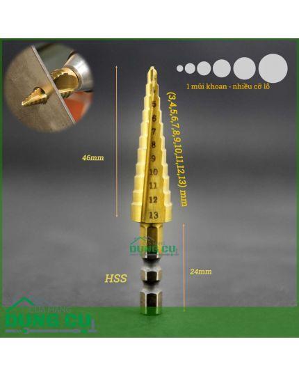 Mũi khoan 11 bước thẳng 3-13mm HSS TiN chuôi lục