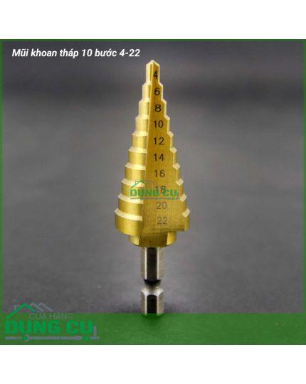 Mũi khoan tháp 10 bước thẳng 4-22mm HSS phủ Titanium chuyên khoan Inox
