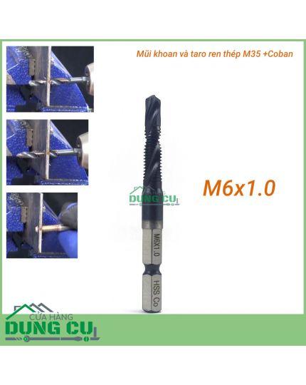 Mũi khoan và taro ren M6x1.0 cao cấp thép M35+Co