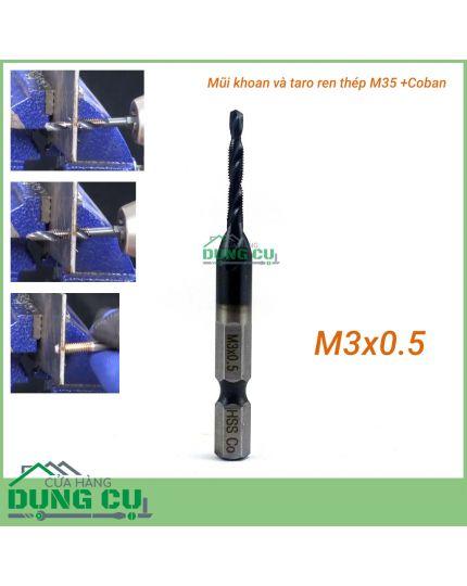 Mũi khoan và taro ren M3x0.5 cao cấp thép M35+Co