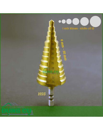 Mũi khoan bước thẳng 13 bước từ 6mm - 35mm phủ CBN độ cứng 63 lõi thép gió HSS 4241