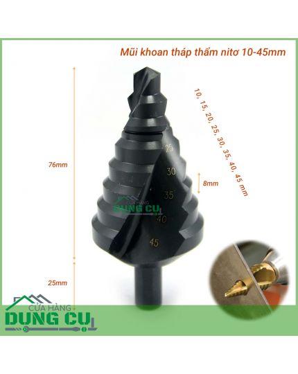 Mũi khoan tháp thẩm nitơ bước chéo 10-45mm chuôi tròn