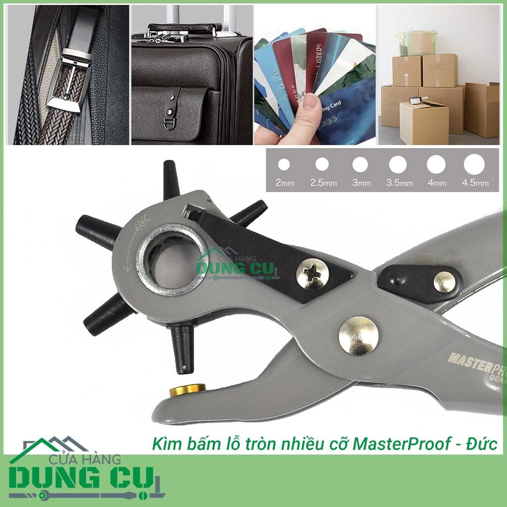 kìm bấm lỗ tròn nhiều cỡ masterproof giúp bạn bấm lỗ dễ dàng thắt lưng, đồ da, giấy ....